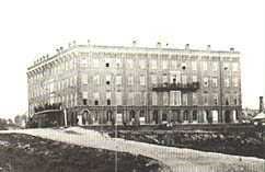 Photo in black and white of Patee House