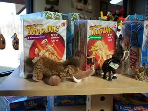Toys on shelf of gift shop